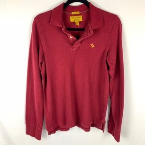 ABERCROMBIE & FITCH Red Long Sleeve Muscle Polo